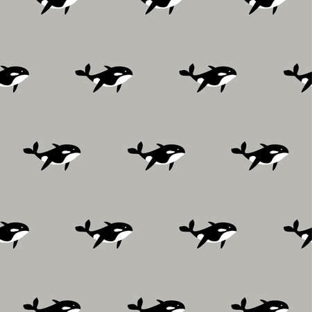 Orca whale seamless vector pattern. Cartoon style black and white fish background. Sea life animal simple print. Illustration