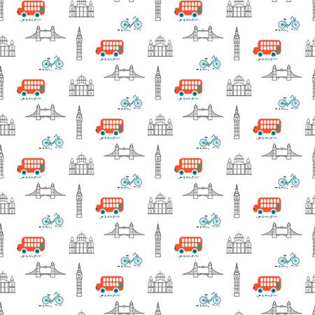 London city theme kid seamless vector pattern. Transport and landmarks cartoon line style repeat textile print.