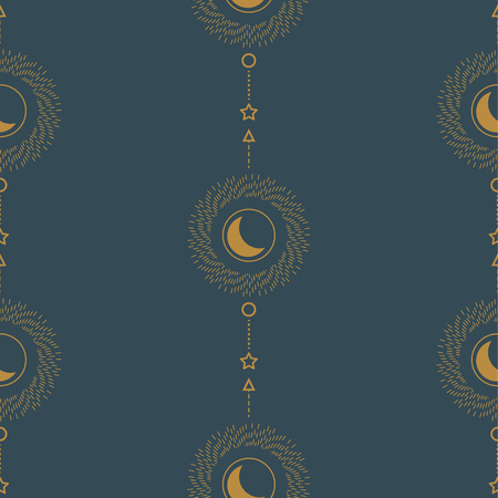 Sun and crescent abstract line style geometric seamless pattern art. Astrology theme blue and gold vector texture. Vettoriali