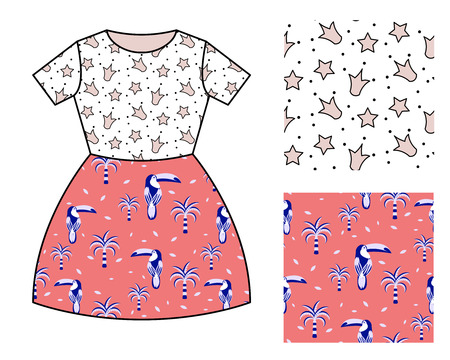 Dress pattern design for girls. Crowns and toucan birds vector seamless pattern mocked up set.