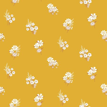 Flowers vintage colors seamless vector pattern. Small meadow flower daisy plants fabric textile print mustard yellow background.