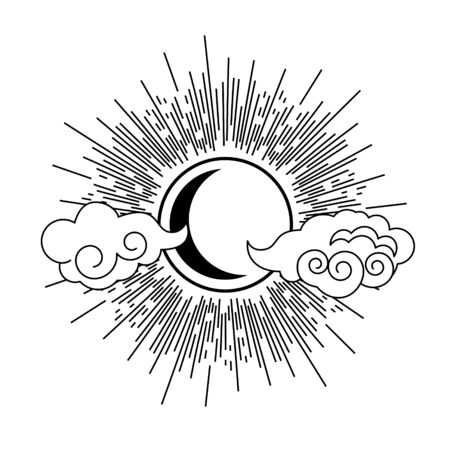 Sun, moon and clouds oriental style tattoo element design vector. Abstract line eastern style decorative emblem. Ilustrace