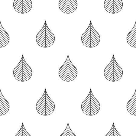 Seamless pattern with stylized abstract leaves. Black and white outline style texture. Ilustrace