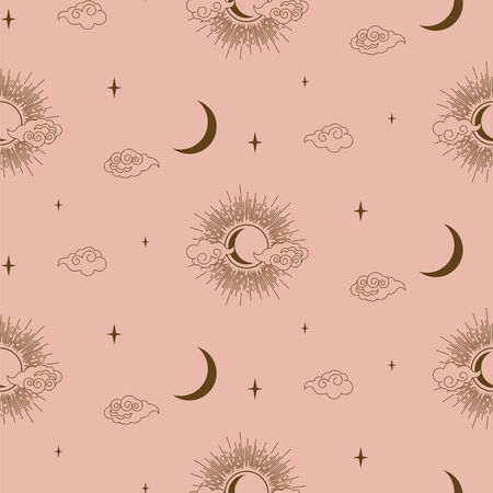 Sun, clouds and moon decorative boho style element design vector. Abstract line style decorative gold and pink background. Seamless pattern wallpaper. Ilustrace