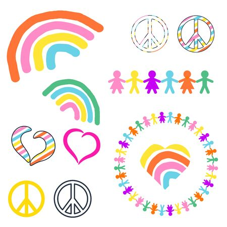 Rainbow and peace symbols hippie pacifist vector illustration. Colorful love world sign icons clipart.