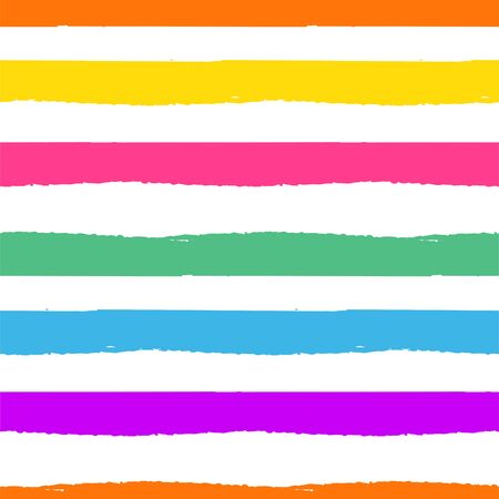 Rainbow striped seamless pattern. Rough lines rainbow repeating background vector texture. Multicolor striped horizontal backdrop print. 向量圖像