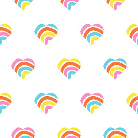 Rainbow striped heart seamless pattern. Rough lines rainbow repeating background vector texture. Multicolor striped love backdrop print.