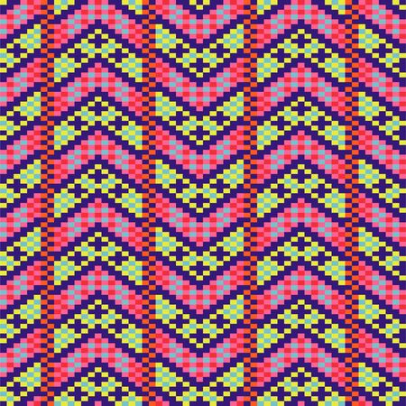 Geometric bold arrow chevron seamless pattern pixel blocks shapes texture. Bright colors vector fabric background. 向量圖像