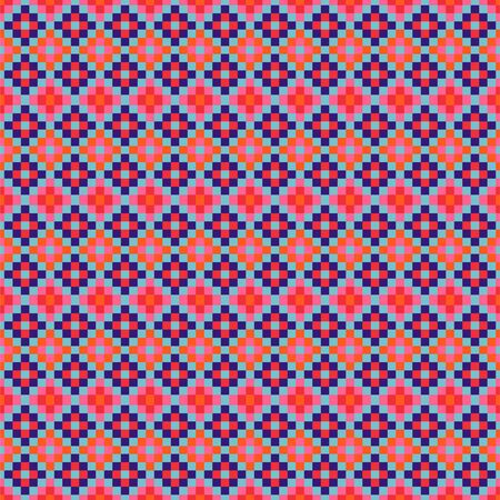 Grid navajo geometric seamless pattern pixel art and rhomb bead shapes texture. Bright colors vector fabric background.