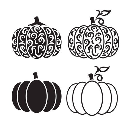 Vector cut out pumpkin decorative set. Pumpkin silhouette papercraft template stencil.