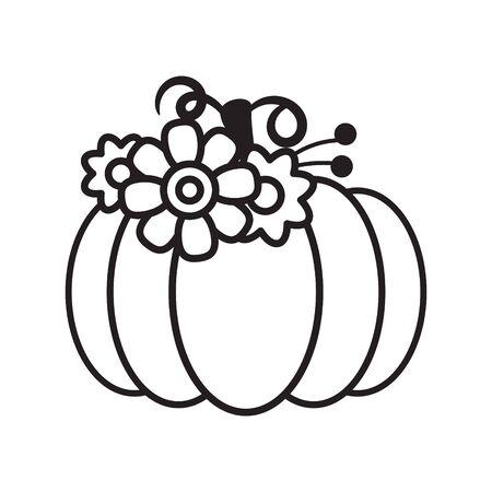 Vector cut out pumpkin decorative set. Pumpkin silhouette papercraft template stencil. Fall harvest stamp. Ilustracja