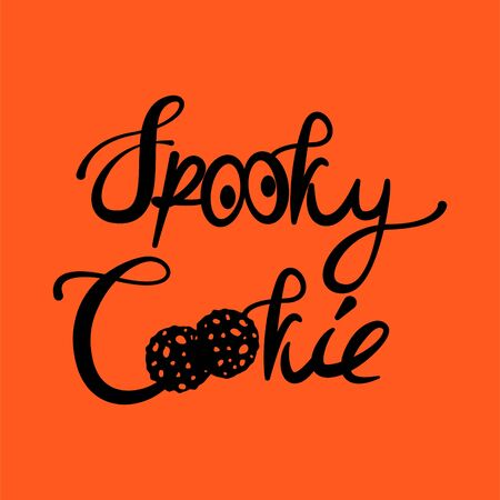 Spooky Cookie Halloween text tshirt print illustration. Spider net and spooky eyes vector.