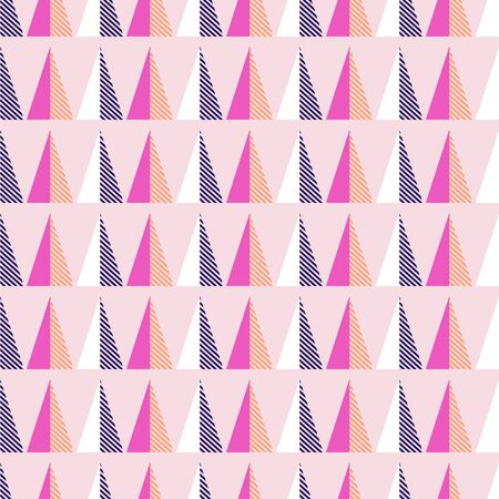 Seamless pattern with geometric triangle shapes. Bright colors pink and violet vector texture.