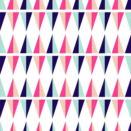 Seamless pattern with geometric triangle shapes. Bright colors pink and mint vector texture.