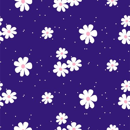 White daisy on blue background seamless pattern texture. Flower simple pattern swatch for clothing print and paper.