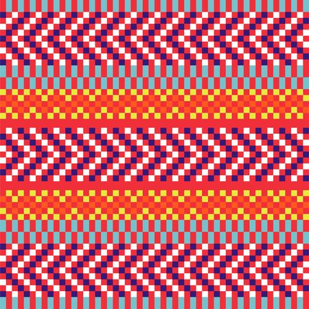 Geometric herringbone stripes seamless pattern pixel blocks shapes texture. Bright colors vector fabric background.