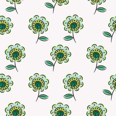 Green sketched flowers seamless pattern texture on white background. Beautiful floral hand drawn vector pattern.