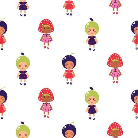 Costumed kids vector cartoon seamless pattern. Children wearing fruit costumes for kindergarten matinee.