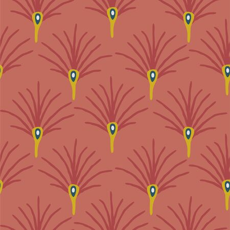 Abstract plant fan seamless vector pattern. Modern terracotta colors.
