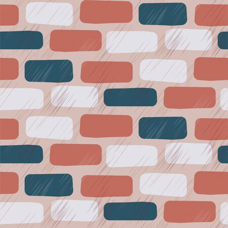Scratched brick wall seamless vector pattern background. Rough multicolor bricks terracotta blue colors texture.
