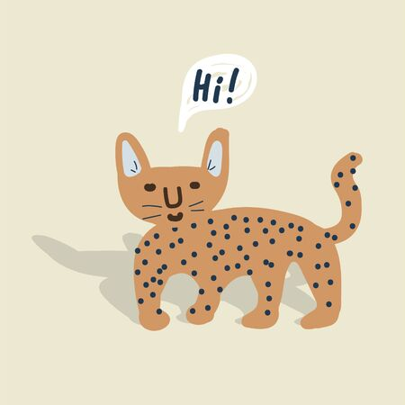 Cute wild cheetah cat vector hand drawn illustration. Childish style jaguar with hi message bubble. 矢量图像
