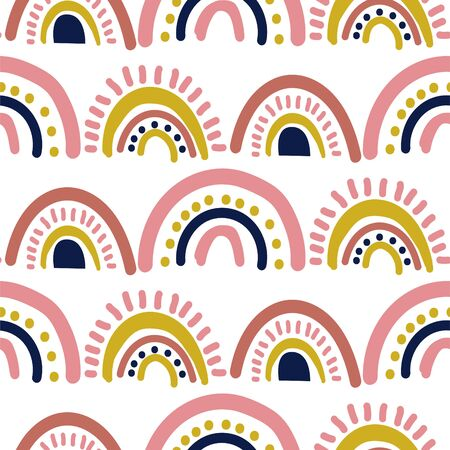 Rainbow cut out paper abstract modern shapes seamless pattern. Hand drawn scallop archs repeat background for wrap, textile and print design. Pink yellow colors texture objects. Ilustrace