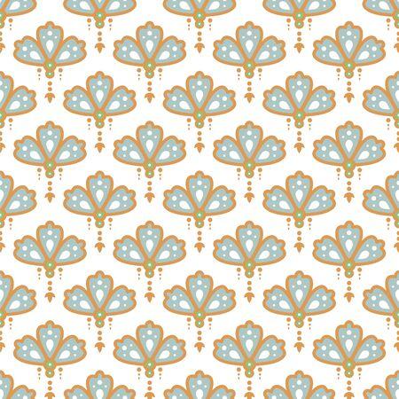 Floral pendant shape seamless pattern. Soft blue and gold colors drop design background vector. Foto de archivo - 140206814