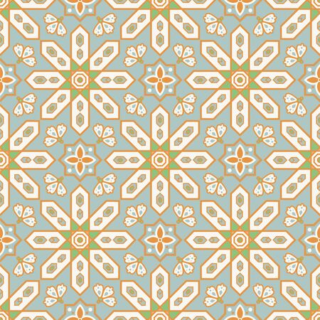 Arabic style tile seamless pattern. Moroccan geometry ceramic vector tiles design pastel blue gold colors.