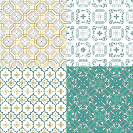 Moroccan arabic seamless pattern. Traditional Arabic Islamic background decorative design texture set of four.