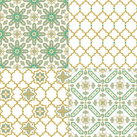 Oriental arabic seamless pattern. Traditional Arabic Islamic background decorative design texture set of four gold turquoise colors. Ilustração
