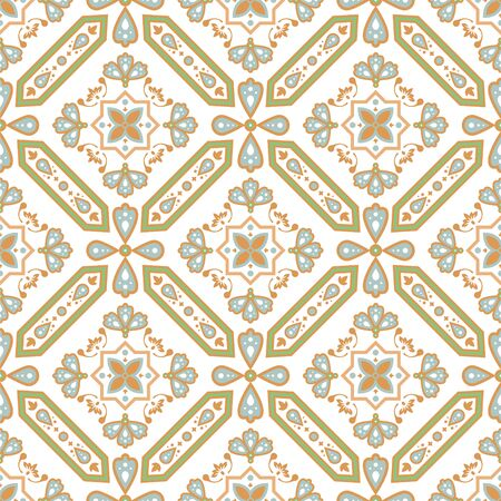 Decorative tile seamless pattern. Mediterranean vector ceramic tiles design with rhombuses shapes and swirls.