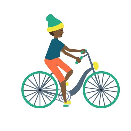 Teenager boy on a bicycle vector cartoon on a white background. Kid riding a bike illustration. Иллюстрация
