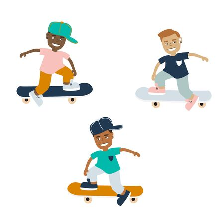 Teenager boys on a skateboard vector cartoon on a white background. Young boy kids chill skating illustration.