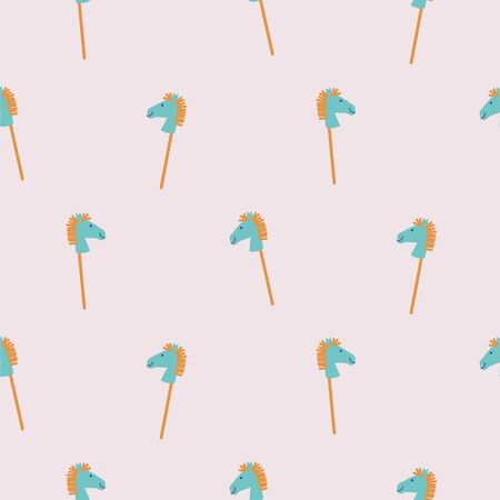 Seamless pattern with rocking horse sticks. Cute baby toy background. Pastel colors child play texture vector.