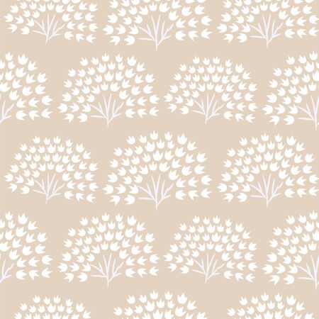 Floral simple seamless pattern with grass plants. Vector pastel beige fan leaves flower background.
