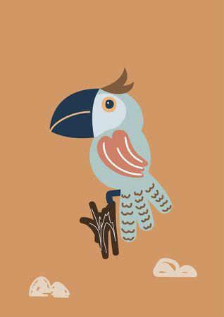 Vector blue parrot bird cartoon illustration. Childish style exotic bird. Nursery vertical poster print design.