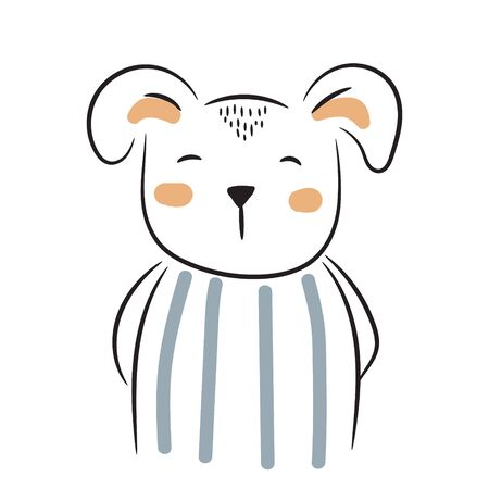 Cute doodle puppy illustration. Simple hand drawn baby animal design for apparel prints.