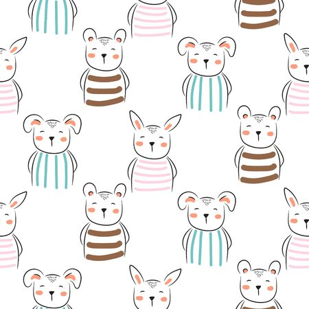 Puppy, bunny and bear cute seamless doodle pattern vector. Childish cartoon background with cheerful animals on white background. Ilustração