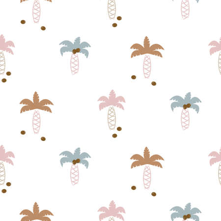 Cute coconut palm trees seamless pattern print for kids apparel and bedding. Neutral gender colors.