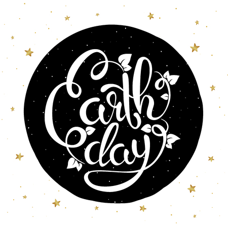 earth day: Lettering Earth Day poster