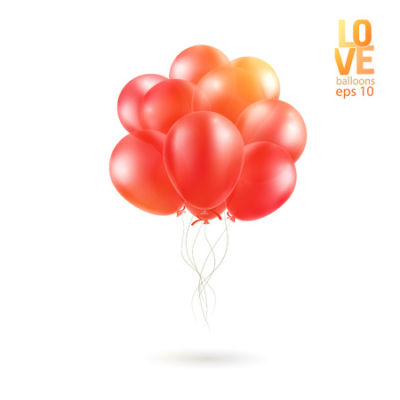 Realistic Bunch of Birthday Balloons Flying for Party and Celebrations