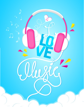 Musical poster I love music, lettering, calligraphy for you. 向量圖像