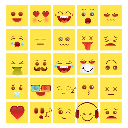 emotional face icons, face, fun, funny 向量圖像