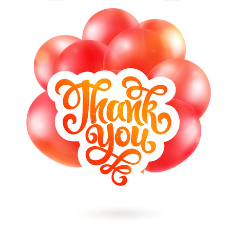 Thank you lettering, Realistic Bunch of Birthday Balloons Flying for Party and Celebrations With Space for Message Isolated in White Background 向量圖像