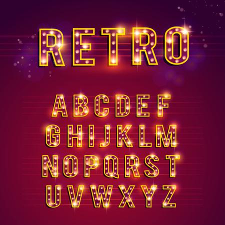 Retro-Glühbirne Alphabet, Lichter, Casino, retro, alphabet Standard-Bild - 59588347