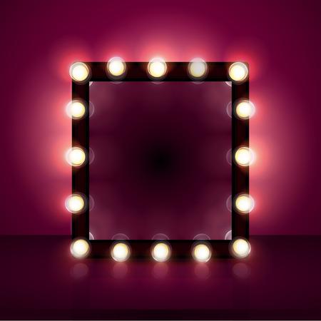 espejo de maquillaje realista, de fondo, la luz, los cosméticos