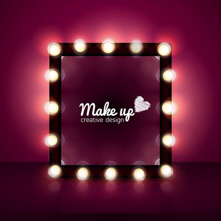 makeup mirror realistic , background, light, cosmetics