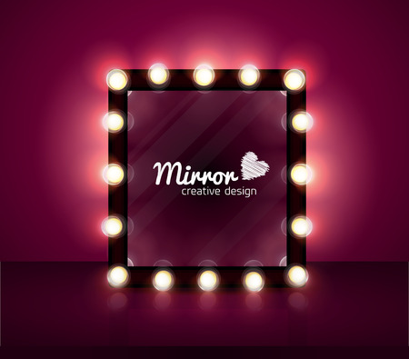 mirror realistic vector background make up bulb
