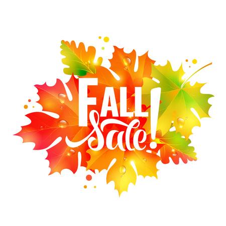 Autumn sale lettering orange, poster, discount, card,