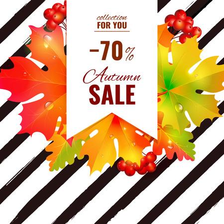 Autumn sale lettering orange, poster, discount, card